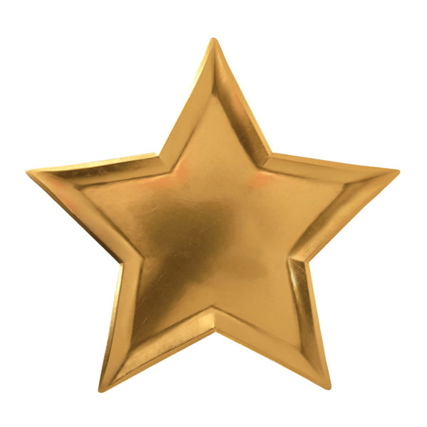 foil gold star plate