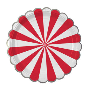 plates red striped