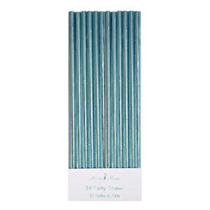 aqua foil party straws